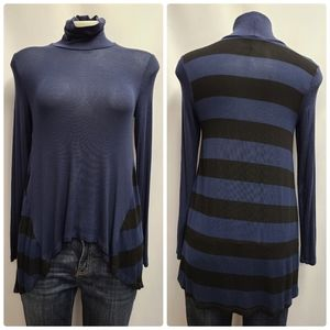 Anthropologie Three Dots High Low Striped Knit Top